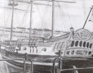 Ship sketch drawing