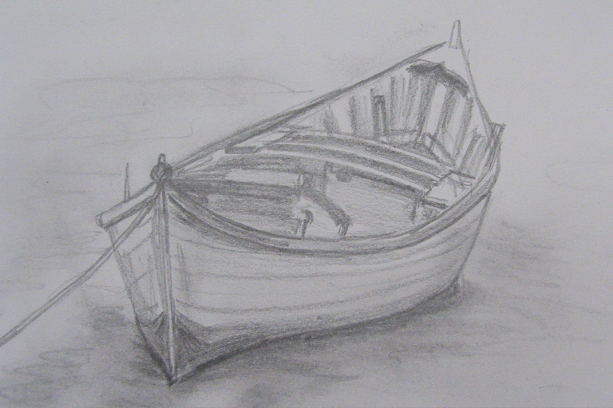 How to draw row boats for How to draw a fishing boat