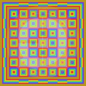 Art mosaic piece 1 - Chequered rainbows copyright serif watermark